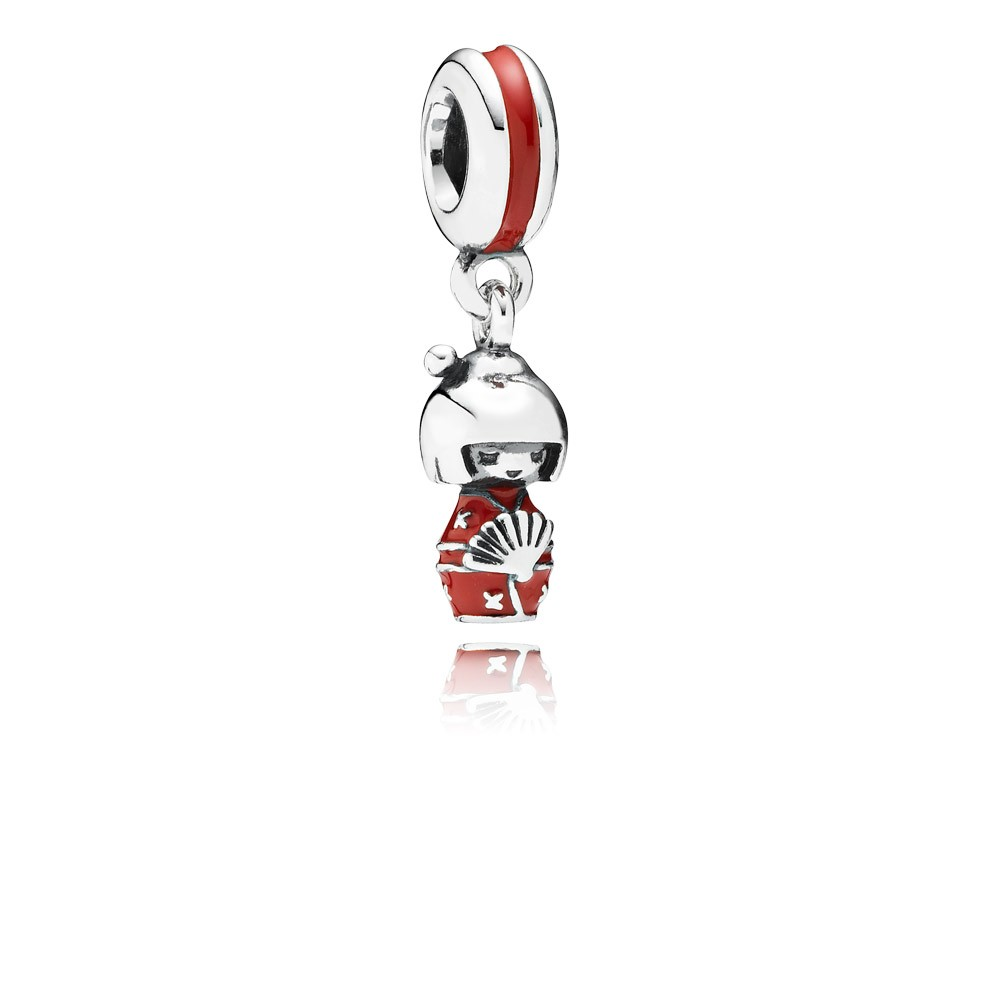 Pandora Japanese doll, red enamel Charm
