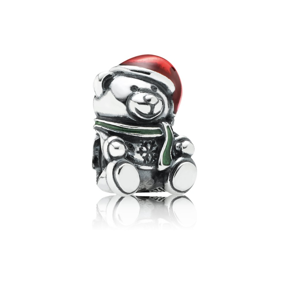 Pandora Christmas Bear, Red & Green Enamel