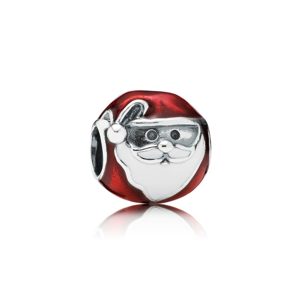 Pandora Jolly Santa, Red & White Enamel