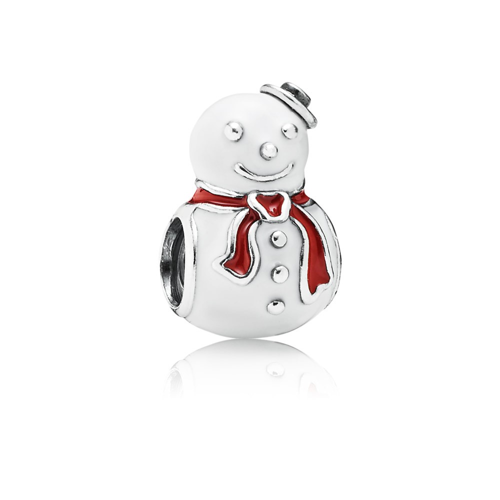 Pandora Happy Snowman, White & Red Enamel