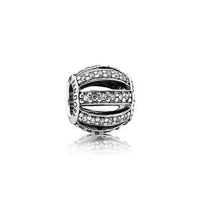 Pandora CLEAR CZ Leading Lady Pave Barrel Charm Silver