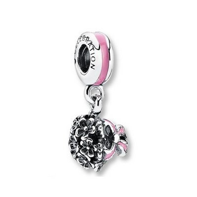 Pandora Pink Enamel Celebration Bouquet Dangle Charm Silver
