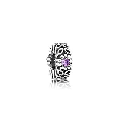 Pandora Purple CZ Twice As Nice Spacer Charm Silver