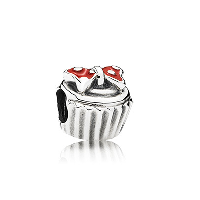 Disney cupcake silver charm with red enamel on Minnie bow