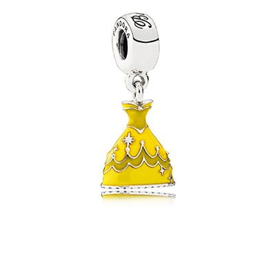 Silver Disney Belle Dress Dangle Charm with Yellow Enamel