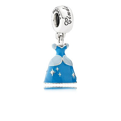 Silver Disney Cinderella Dress Dangle Charm with Blue Enamel