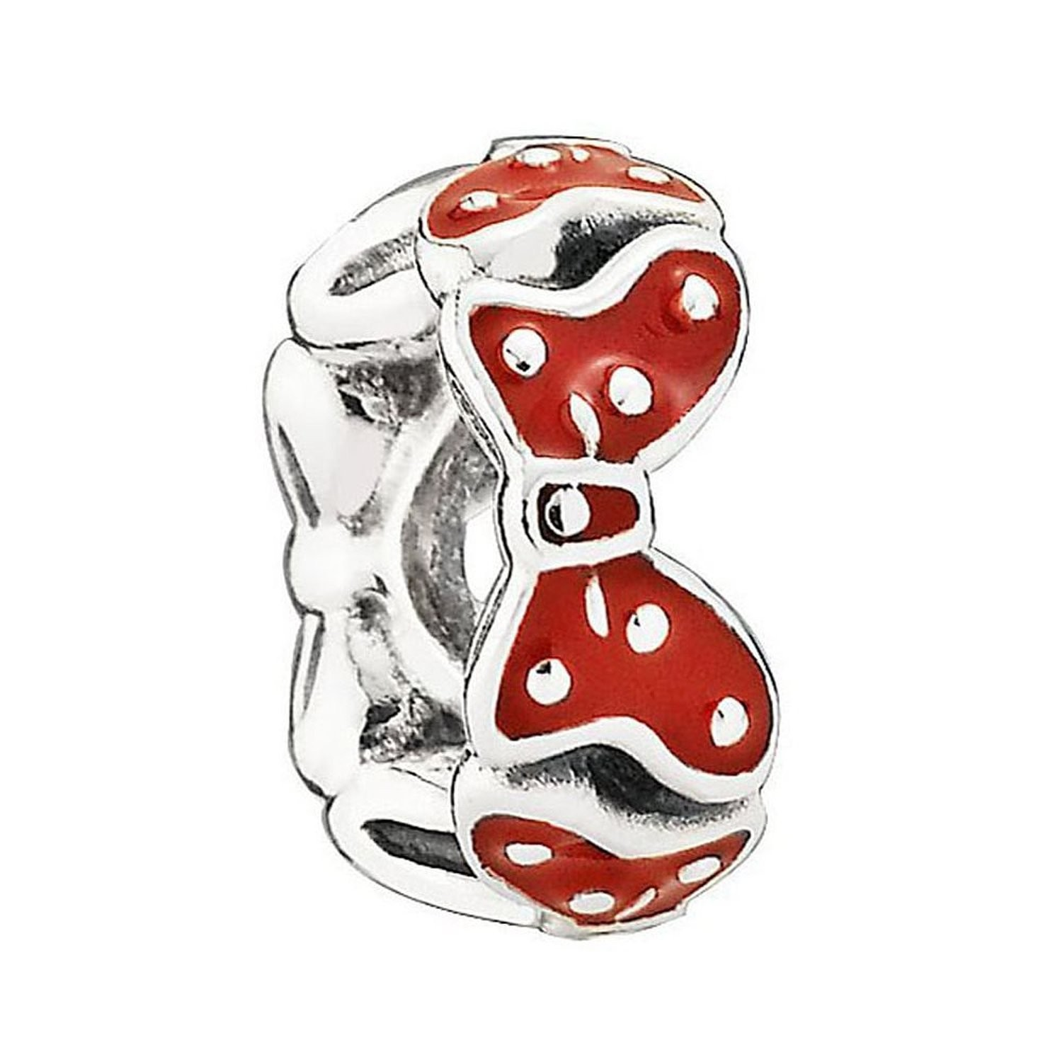 Silver Disney Minnie Bow Spacer with Red Enamel Charm