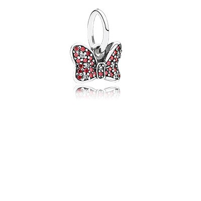 Silver Disny Minnie Bow Dangle With Red And Clear Cz