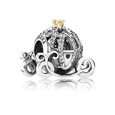 Silver Disney Cinderella Pumpkin Coach Charm with 14k Gold and CZ
