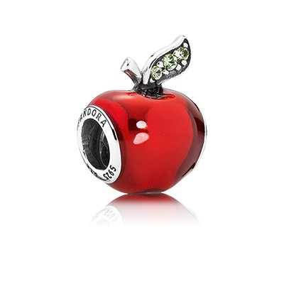 Silver Disney Snow White Apple charm with Red Enamel and Dark Green CZ
