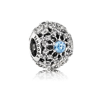 Silver Disney Openwork Snowflake Charm With Fancy Light Blue And Clear Cz