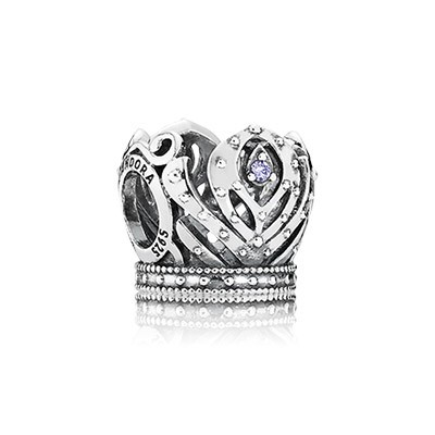 Silver Disney Anna Crown Openwork Charm with Purple CZ