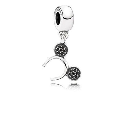 Silve Disney Mickey Headband Dangle Charm With Black Crystal