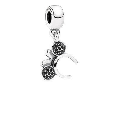 Silver Disney Minnie Headband Dangle Charm with Black Stone