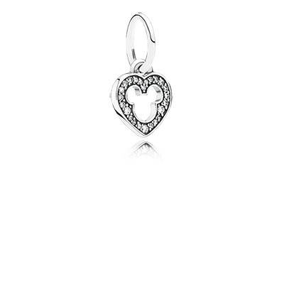 Silver Disney Heart Dangle With Cz And Cut Out Mickey Silhouette