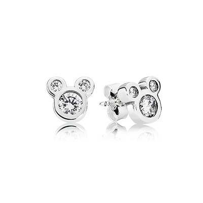 Silver Disney Mickey Earring Stud with Clear Cz