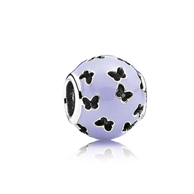 Abstract silver charm with lavender enamel and cut-out butterflies