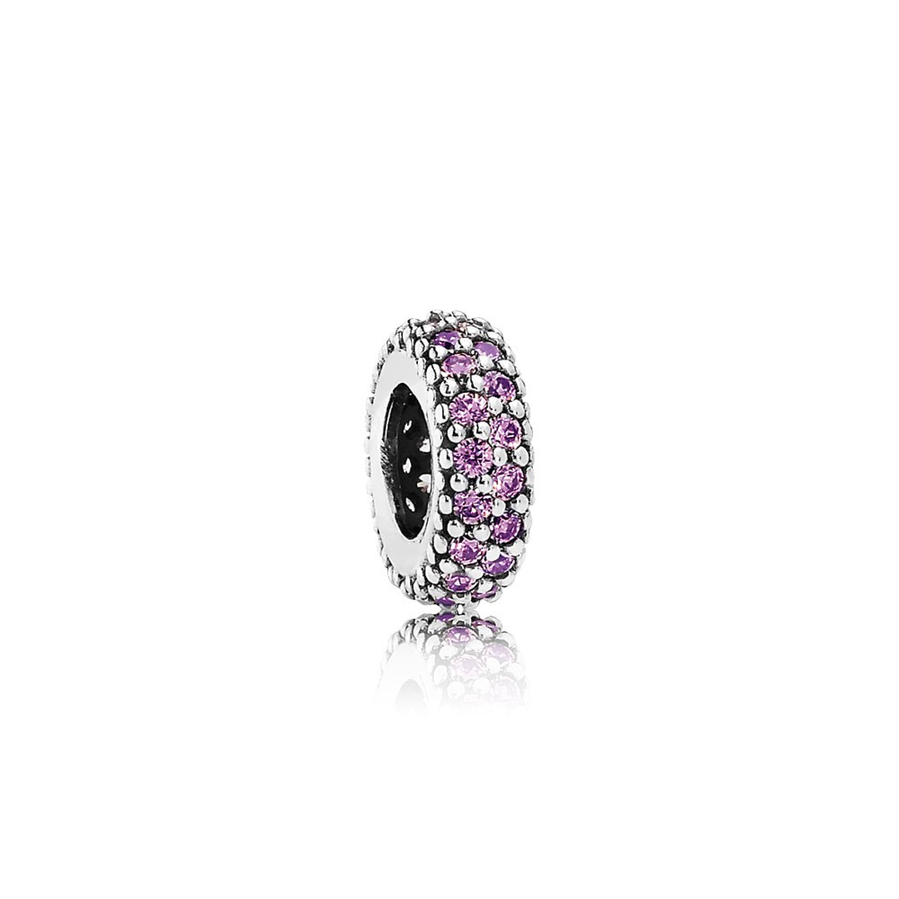 Abstract Silver Spacer With Fancy Purple Cubic Zirconia