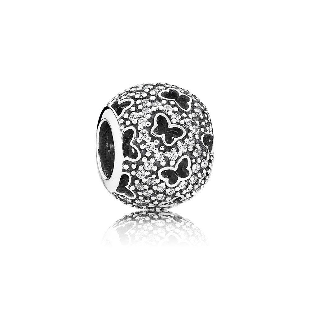 Abstract Micro Pave Silver Charm With Cubic Zirconia And Cut Out Butterflies