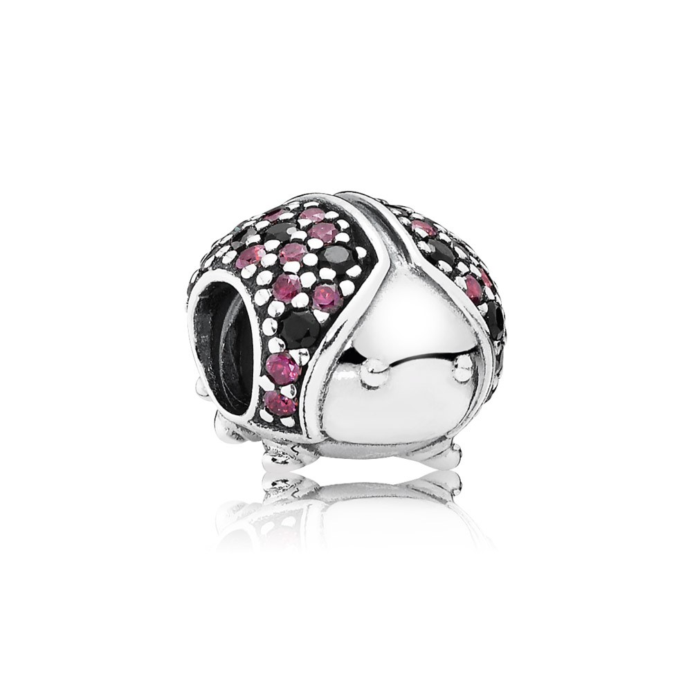 Ladybird Pave Silver Charm With Fancy Red Cubic Zirconia And Black Crystal