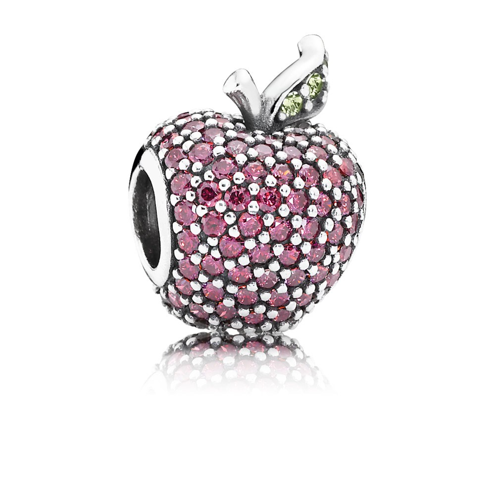 Apple Pave Silver Charm With Fancy Red Cubic Zirconia And Light Green Crystal