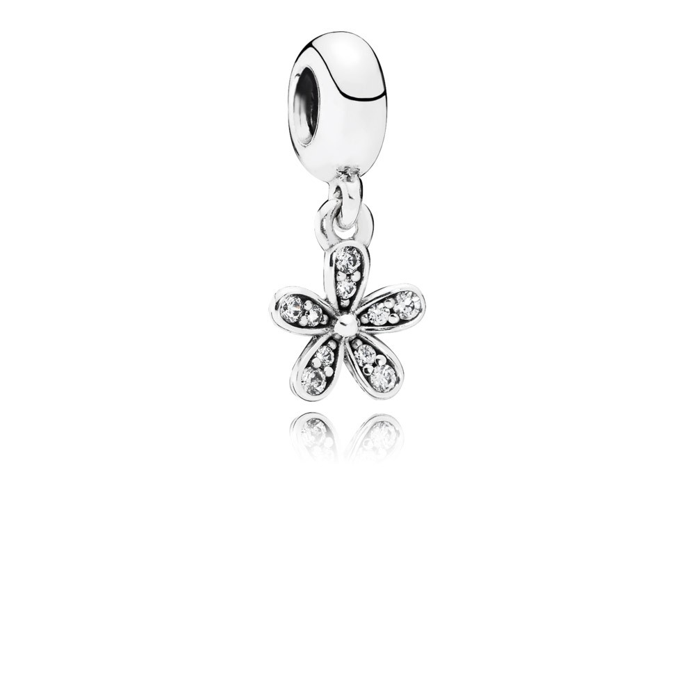 Daisy Silver Dangle With Cubic Zirconia