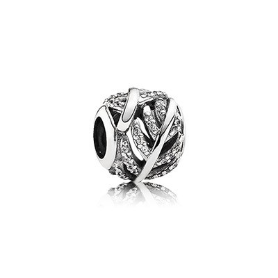 Pandora CLEAR CZ Light As A Feather Charm Silver