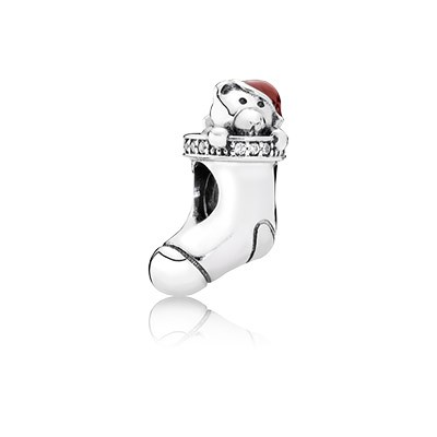 PANDORA Christmas Stocking With Red Enamel & Clear CZ Charm