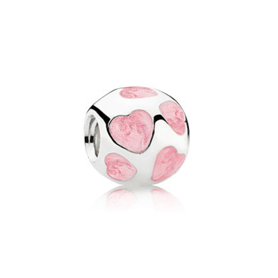 Pandora Gems and Refined Pink Hearts Bead Thread Charm