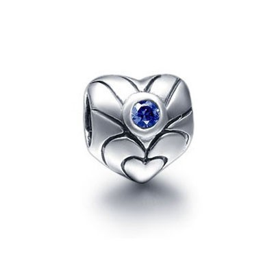 Pandora Gems and Silver Blue Hearts YTIKE Charm
