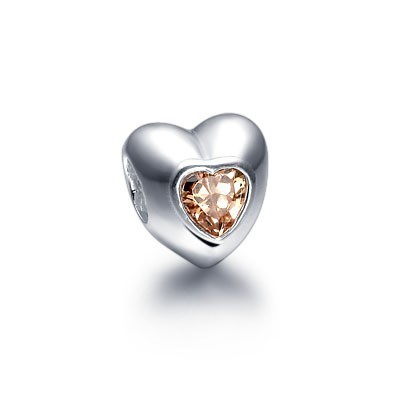 Pandora Gems and Silver Yellow Hearts YTIKE Charm