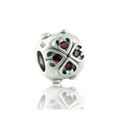 Pandora Gems and Sterling Silver Red Heart Four-leaf Flower Bead Charm