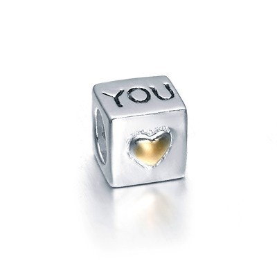 Pandora Heart Love YOU Duotone Charms Two-Tone