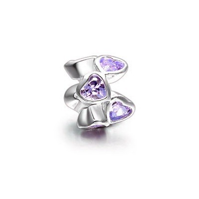 Pandora Purple Heart Flowers Crystal Bead Charm