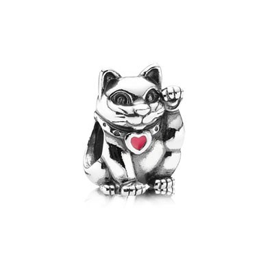 Pandora Red Heart Lucky Cat Pendant Thread Charm