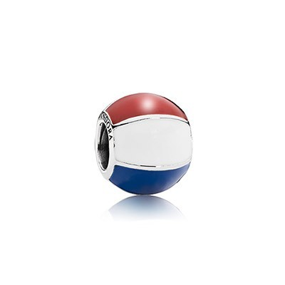 Pandora Beach Ball Silver Charm With Red, White And Blue Enamel Charms