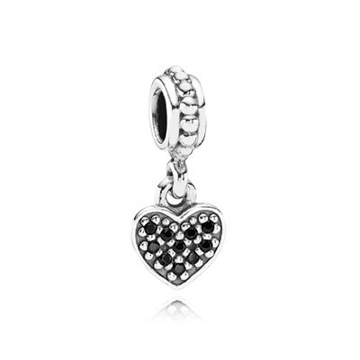 Pandora Black Pave Heart Charms