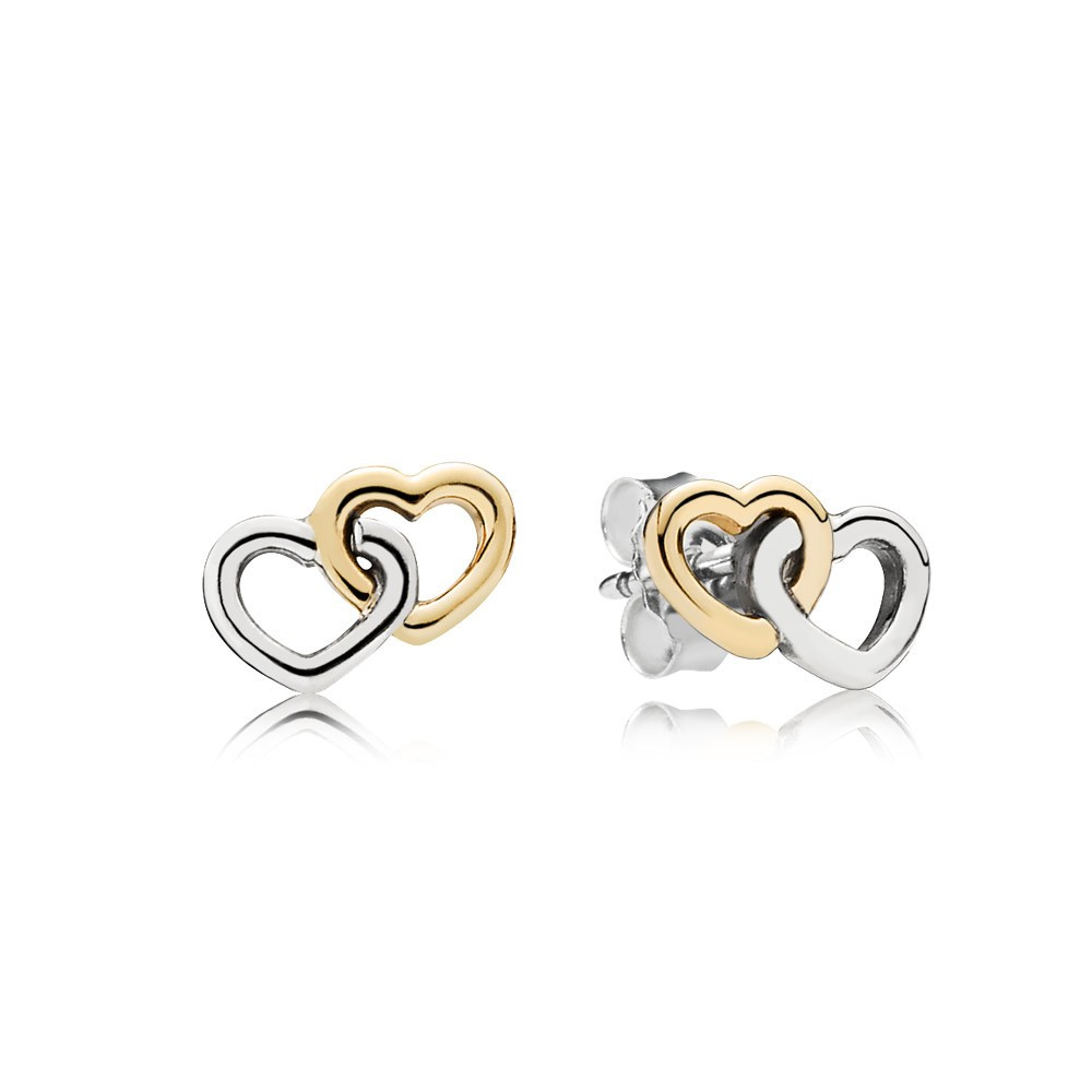 Interlocked Hearts Silver Stud Earrings With 14K