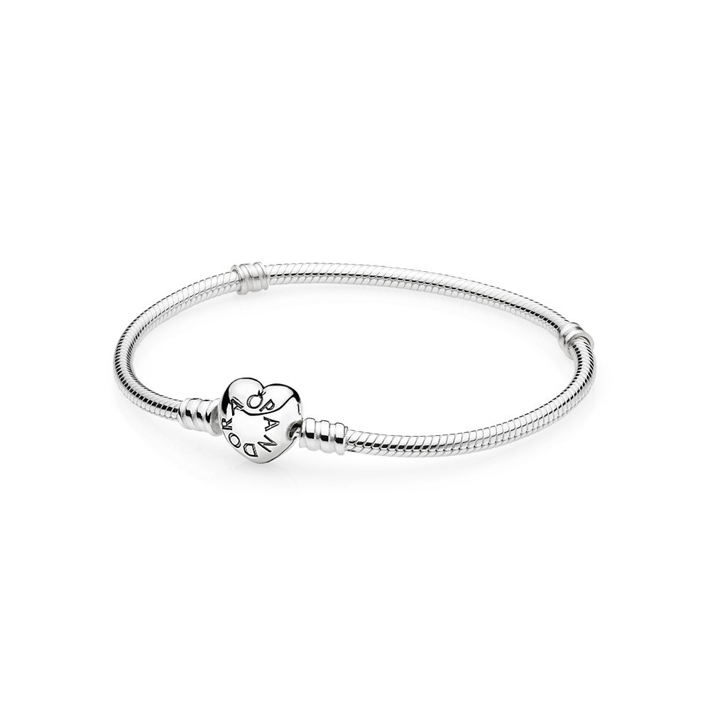 Silver Bracelet With Heart Shaped Clasp