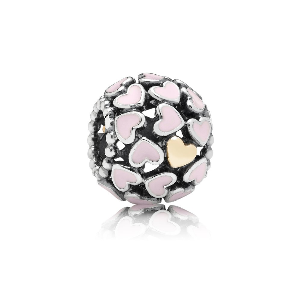 Openwork Heart Silver Charm With 14K And Pink Enamel