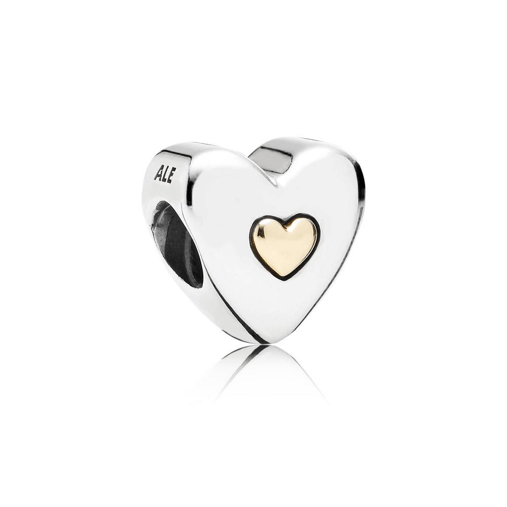 Happy Anniversary Heart Silver Charm With 14K Heart