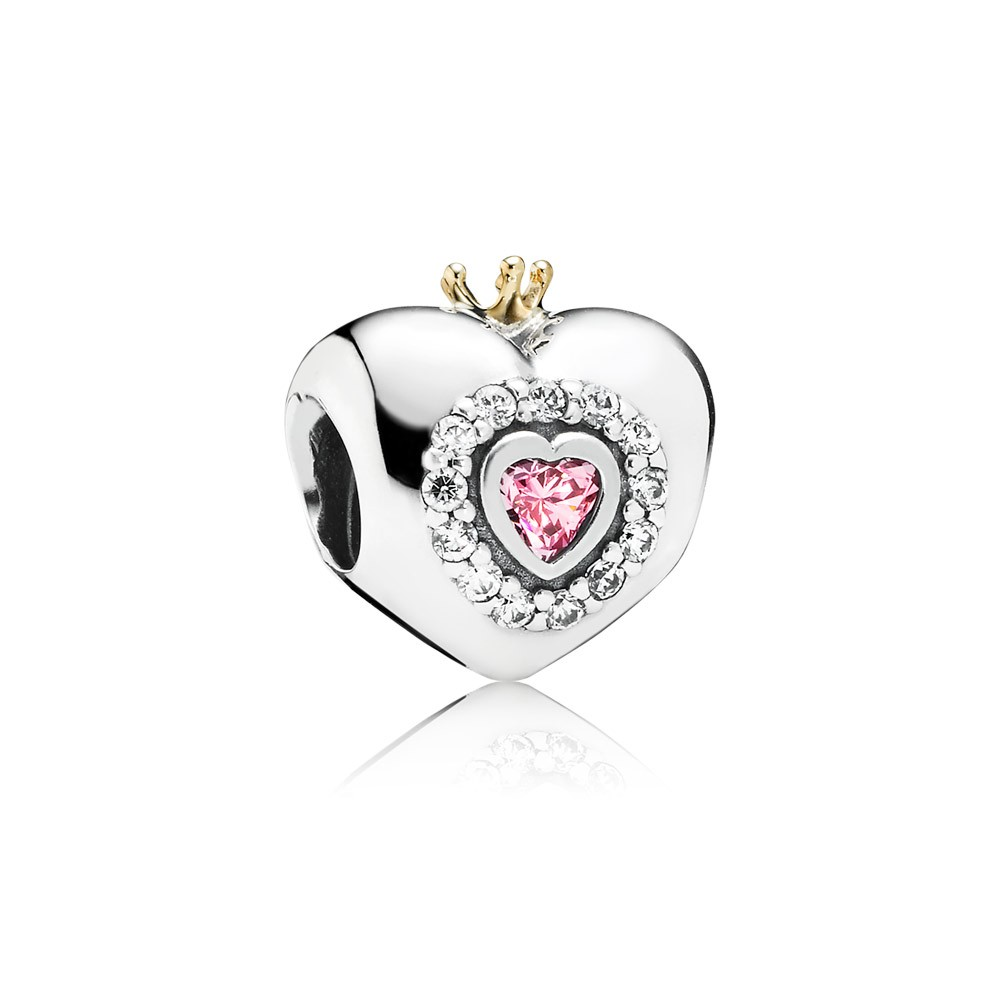 Heart Silver Charm With 14K Crown, Pink And Clear Cubic Zirconia