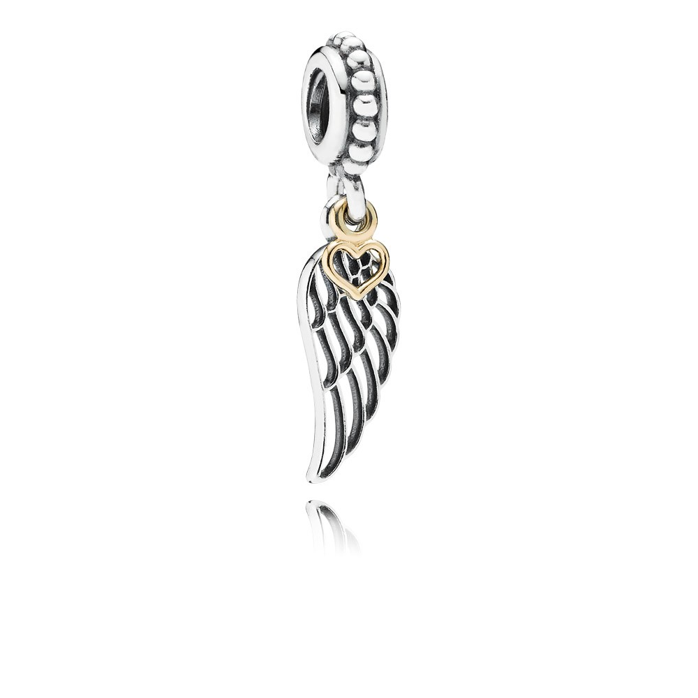 Angel Wing Silver Dangle With 14K Heart