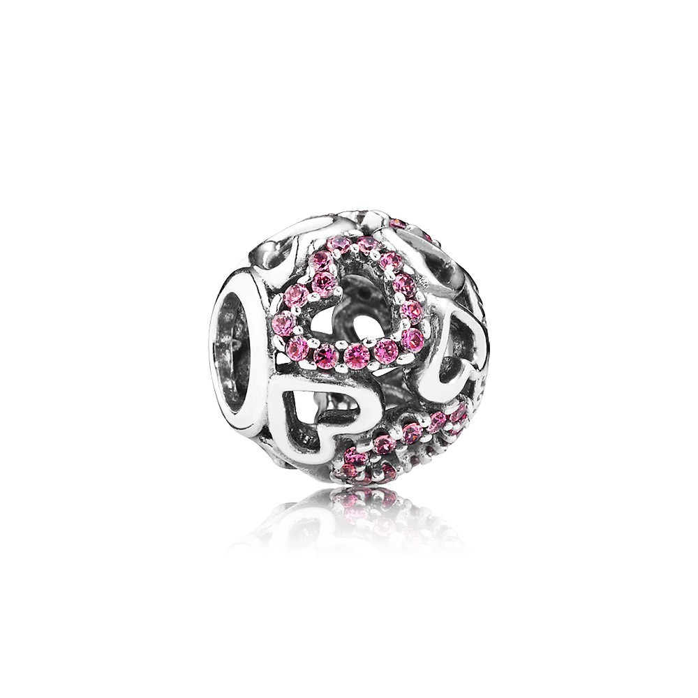 Openwork Hearts Silver Charm With Fancy Pink Cubic Zirconia