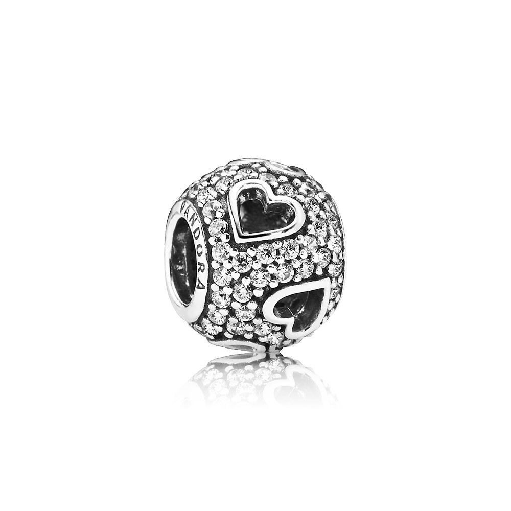 Abstract Pave Silver Charm With Cubic Zirconia And Cut Out Hearts