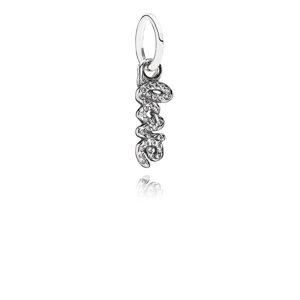 Love Silver Dangle With Cubic Zirconia