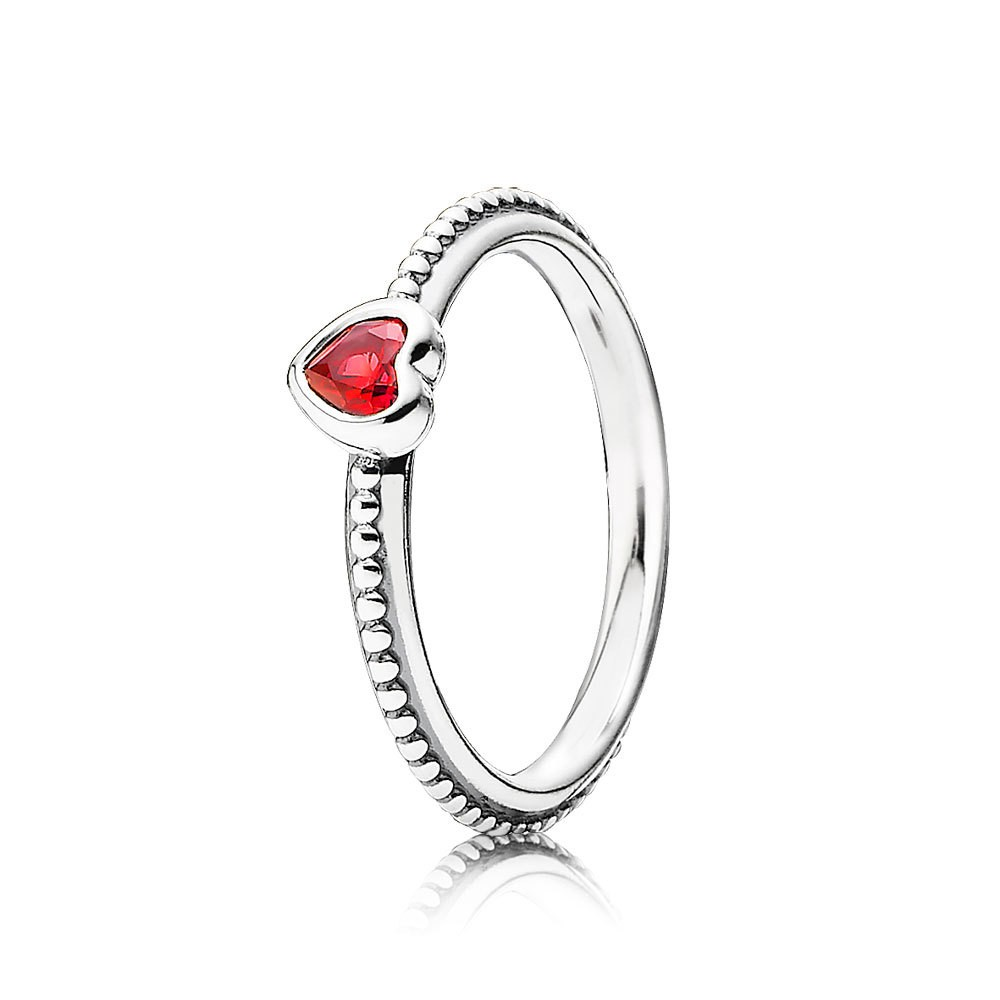 Pandora Heart Silver Ring With Golden Red Synthetic Ruby Ring