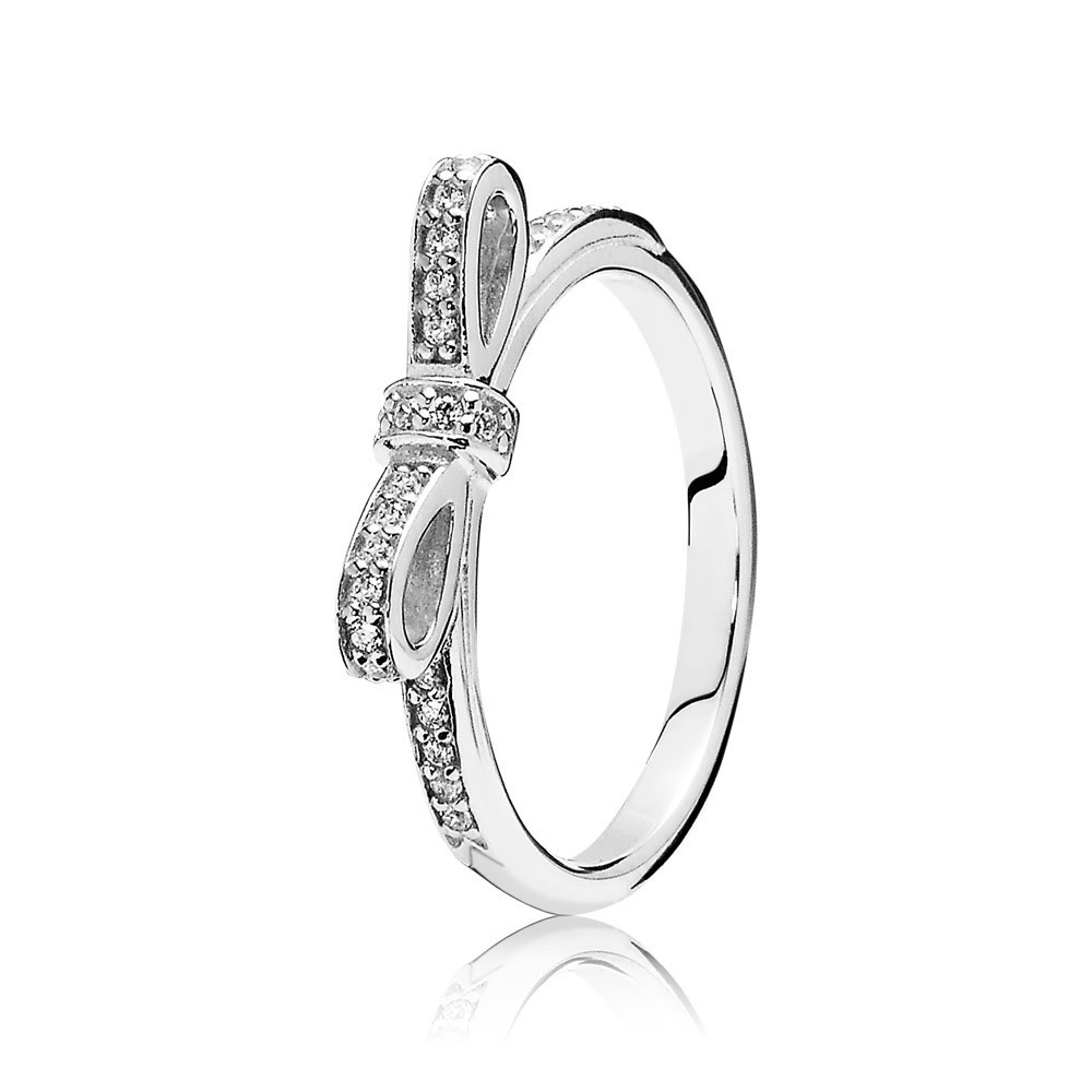 Pandora Sparkling Bow, Clear Cz Ring