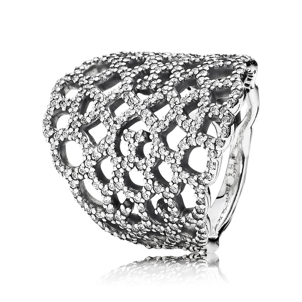 Pandora Shimmering Lace, Clear Cz Ring