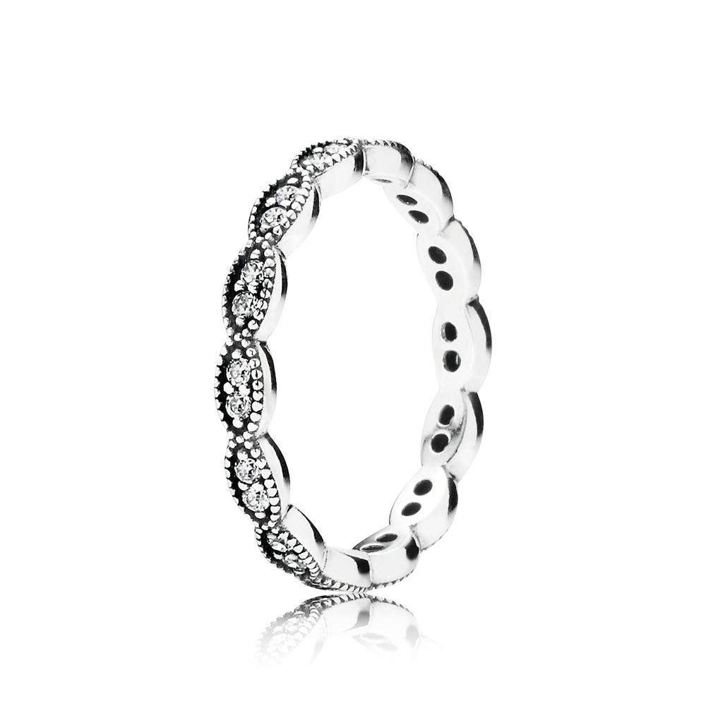 Pandora Sparkling Leaves, Clear Cz Ring